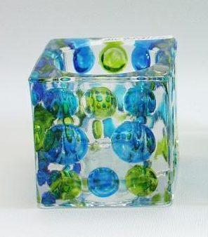 Sfeerlicht glas vierkant d-blauw/l-blauw/groen 6cm