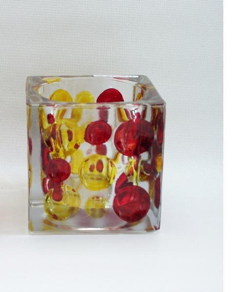 Sfeerlicht glas vierkant rood/geel 10cm