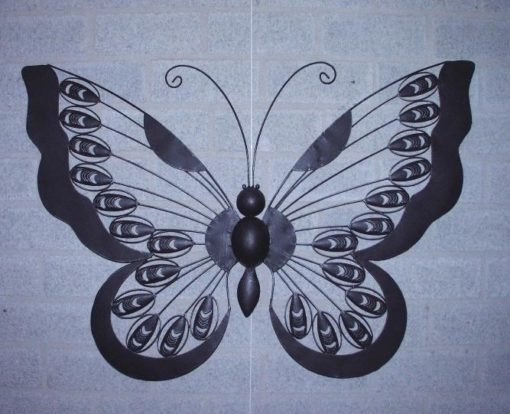 wanddecoratie metaal vlinder 90cmBx62cmH