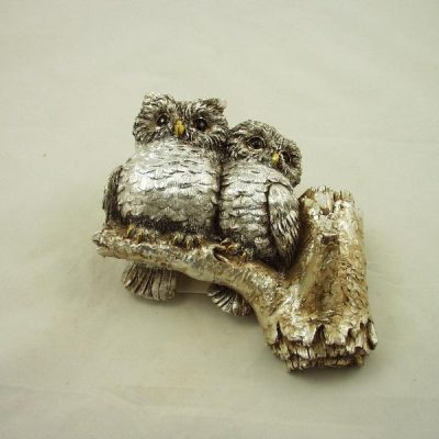 Wanddecoratie uilen op tak zilverkleur 16x15cmH