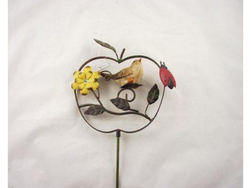 Tuinsteker appel met vogel en bloem 82cmH