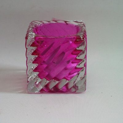 Sfeerlicht glas Diagonal klein fuchsia