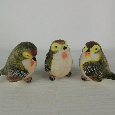 Vogeltjes gekleurd set 3-dlg 8cmH
