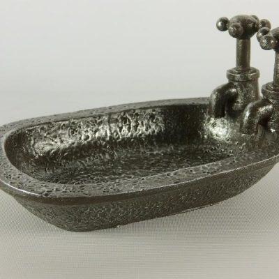 Zeepbakje badkuip ant.zilver 16cmLx8cmH