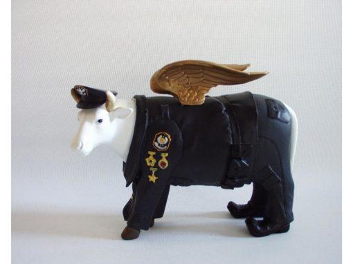 Spaarpot koe politie met vleugels 21cmLx17cmH