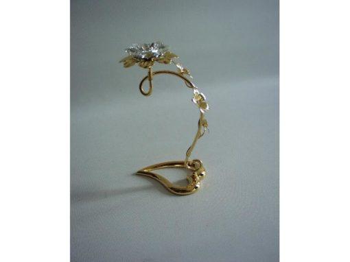Bloem kristal voet hartvorm 13cmH