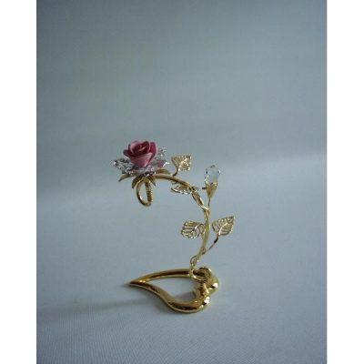 Roos met kristal op voet hartvorm 12cmH