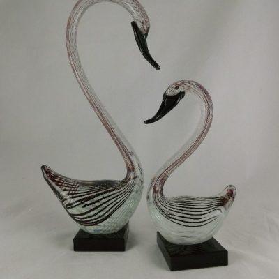 Zwanen stel glas zwart/wit gestreept 23 en 35cmH