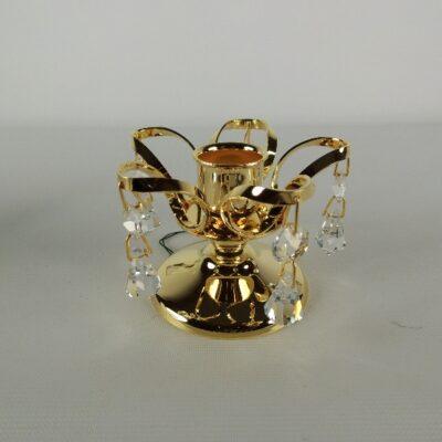 Kandelaar verguld 5.5cm 10 kristallen
