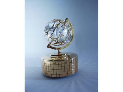Muziekdoos met globe 12.5cmH