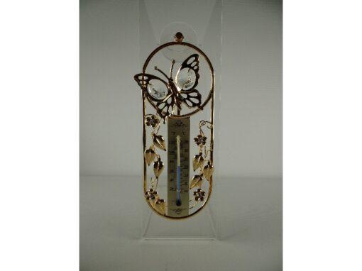 Raamdecoratie thermometer vlinder 17cmH
