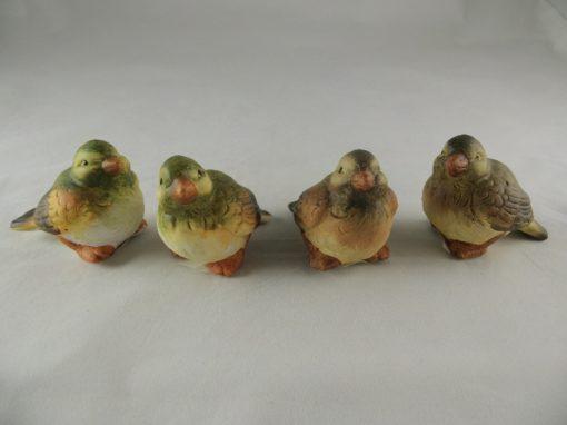 Vogeltjes gekleurd 6.5cmH set 4-delig