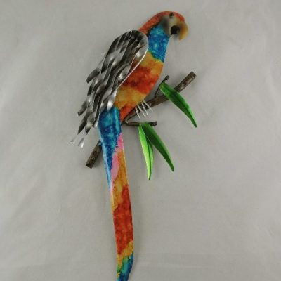 Papegaai wanddecoratie gekleurd 42cmH