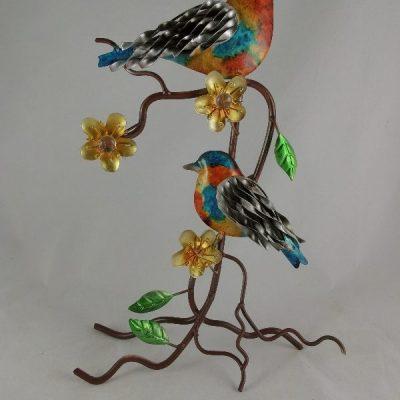 Vogeltjes gekleurd op tak staand 35.5cmH