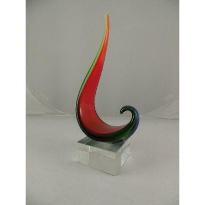 Scultuur glas hooked gekleurd 27cmH