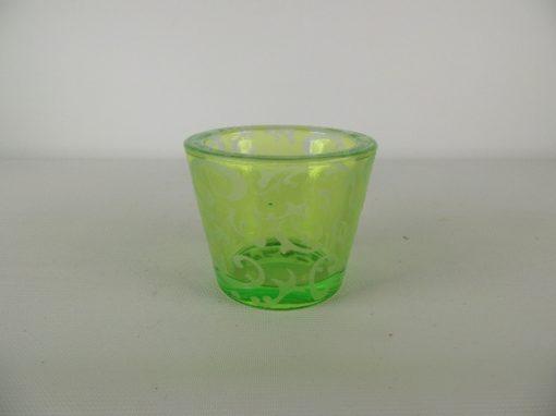Waxinelicht glas lichtgroen stel 6.5cmH