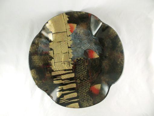 Schaal glas rond zwart/goud Ø48cm