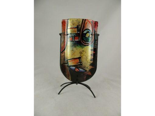 Vaas glas onder rond gekleurd 13cmBx24cmH