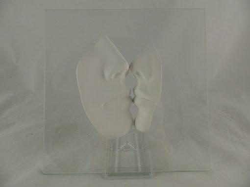 Kus op glas groot 22x22cm