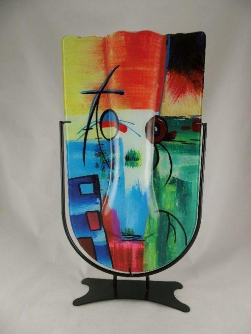 Vaas glas multicolor ronde onderkant in standaard 30x56cmH