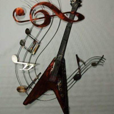 Wanddecoratie gitaar op notenbalk 64cmBx86cmH