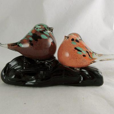 Vogels glas op glasvoet 19cmLx11cmH