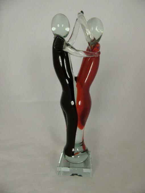 Glassculptuur dansend paar rood/zwart 33cmH