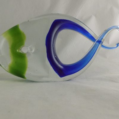 Vis glas blauw/groen 27cmLx14cmH