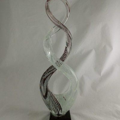 Glassculptuur krul zwart/wit gestreept 43cmH