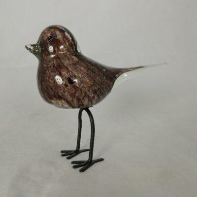 Vogel glas bruin op poten 17cmLx12cmH