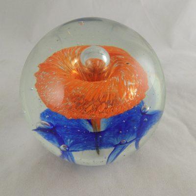 Presse papier glas oranje/blauw Ø10cm