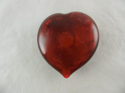 Hart glas rood 11.5x10cm
