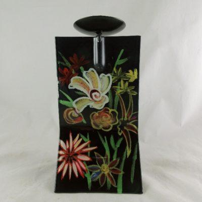 "Kandelaar glas ""flowers"" 14x13x24cmH"