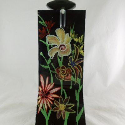 "Kandelaar glas ""Flowers"" 14x13x31cmH"