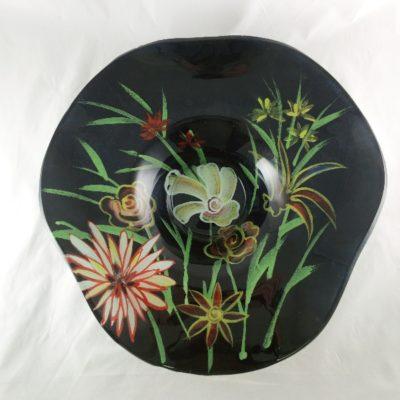 "Schaal glas hoed ""Flowers"" Ø46cmx10cmH"