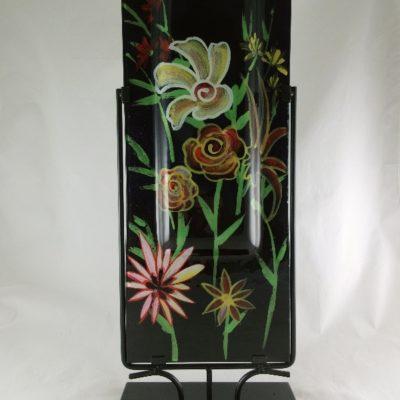 """Vaas glas """"Flowers"""" hoog langwerpig in standaard 25x61cmH"""