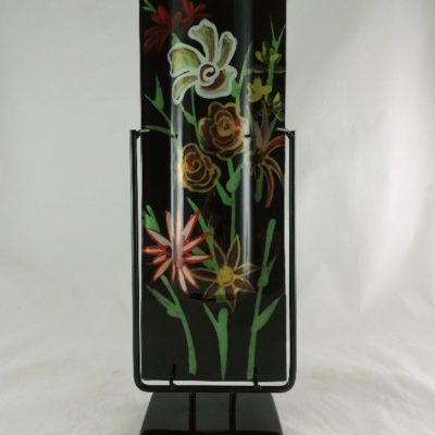 """Vaas glas """"Flowers"""" smal in standaard 13x40cmH"""