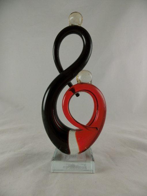 Glassculptuur stel modern zwart/rood 28cmH