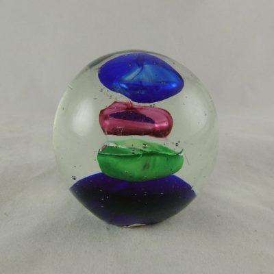 Paperweight glas blauw/purper/groen Ø7cm