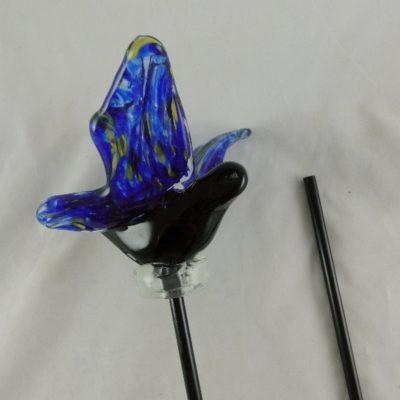 Vlinder glas blauw/zwart tuinsteker 90cmH