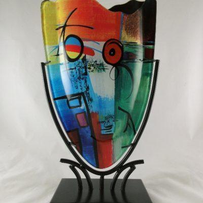 Vaas glas multicolor ovaal 22x37cmH