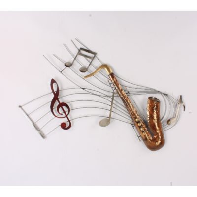 Wanddecoratie metaal Saxofoon 92x60cmH