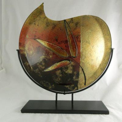 """Vaas glas maanvorm """"Leaf"""" in standaard 48cmH"""
