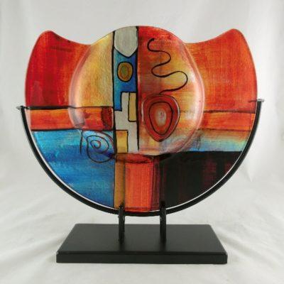 "Vaas glas gekleurd halfrond ""Fusion"" Ø37cm"