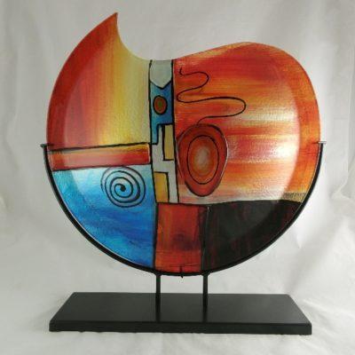 """Vaas glas maanvorm gekleurd """"Fusion"""" in standaard 48cmH"""