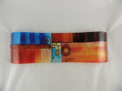 """Schaal glas gegolfd gekleurd """"Fusion"""" 17x58cmL"""
