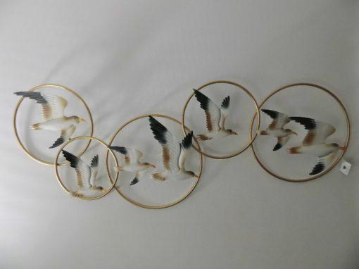 Wanddecoratie metaal meeuwen in cirkels 40x100cmL