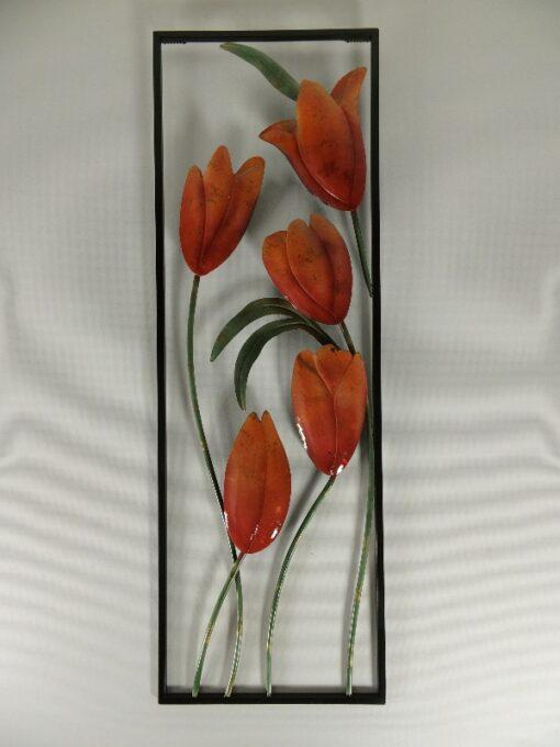 Wanddecoratie Tulpen oranje 30x90cmH