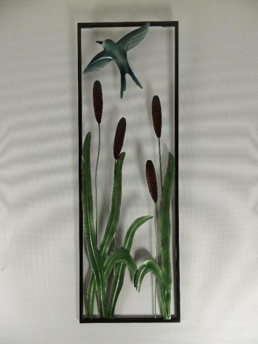 Wanddecoratie zwaluw/rietpluim 30x90cmH