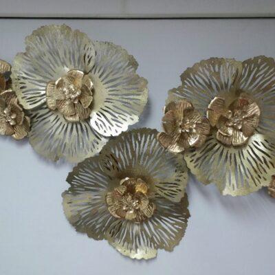 """Wanddecoratie metaal """"Goldflowers"""" 120x74cm"""